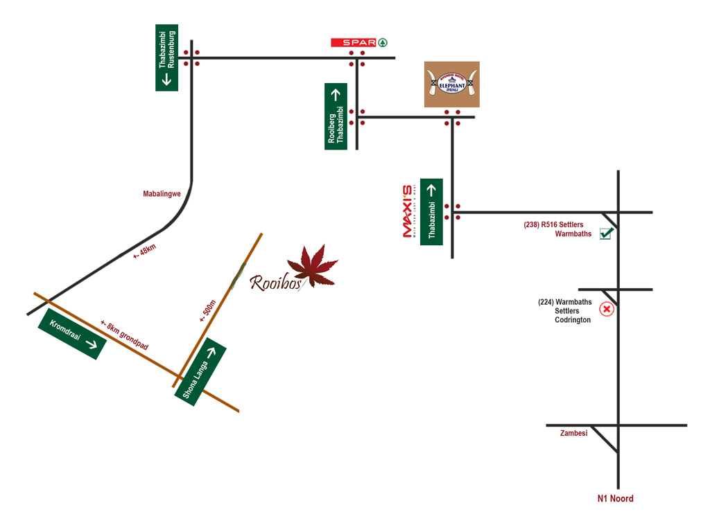 Rooibos Lodge map